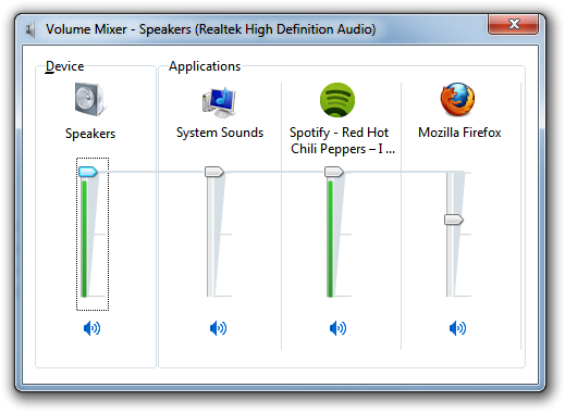 Adjust Volume for Individual Applications