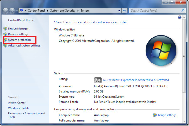 Activate System Protection in Windows 7