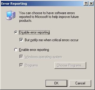 Disable Windows XP Error Reporting