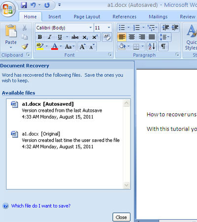recover a word document