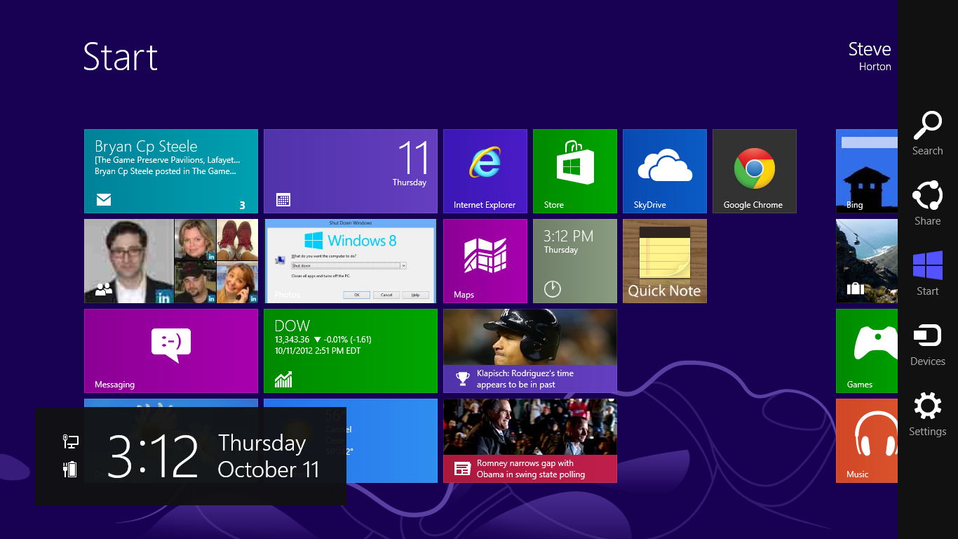 finding the windows 8 control panel quickly
