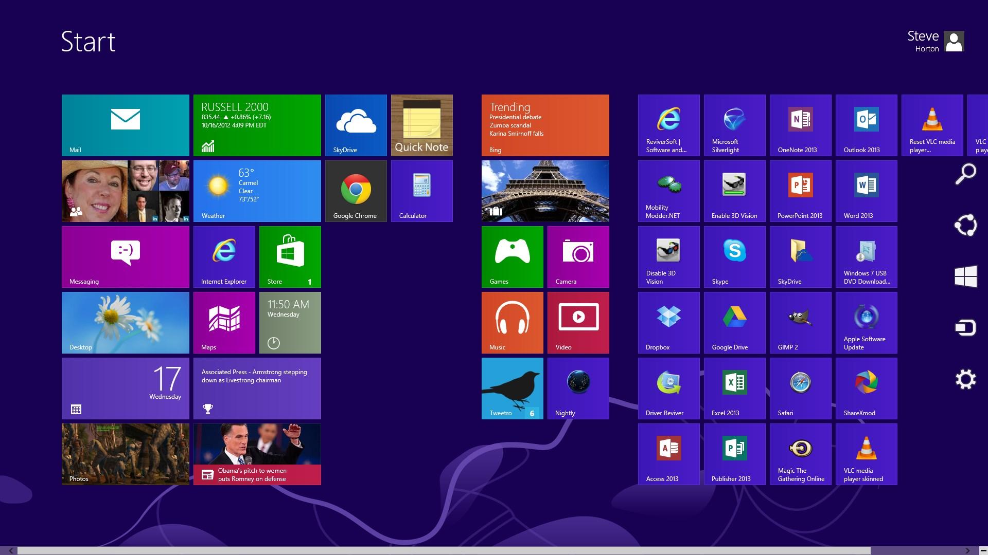 这些都是幽灵图标没有做任何事情.-管理Windows 8角和魅力酒吧