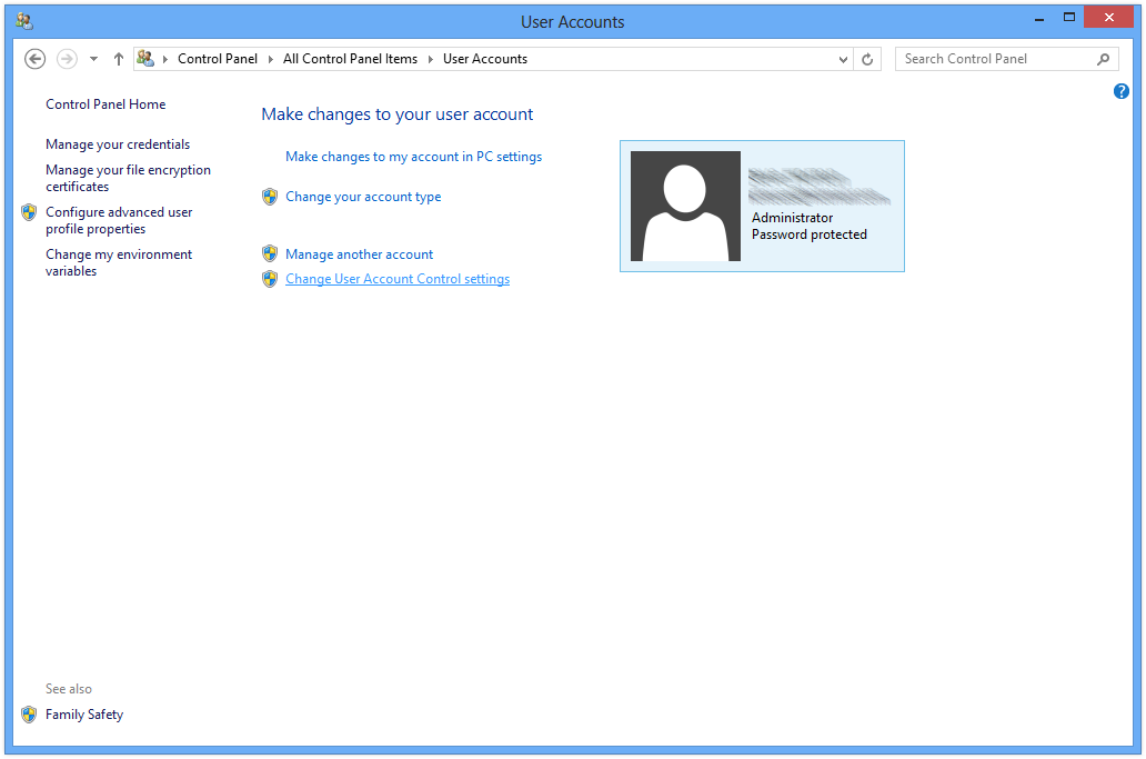 Managing User Account Control in Windows 8