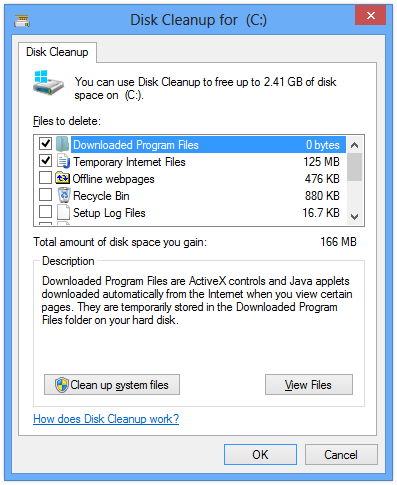 Clear Temp Files in Windows 8 Using Disk Cleanup