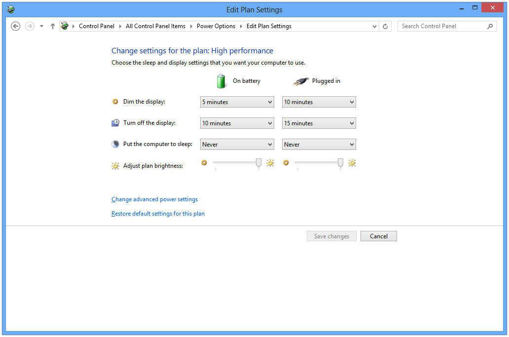 Power Plan in Windows 8