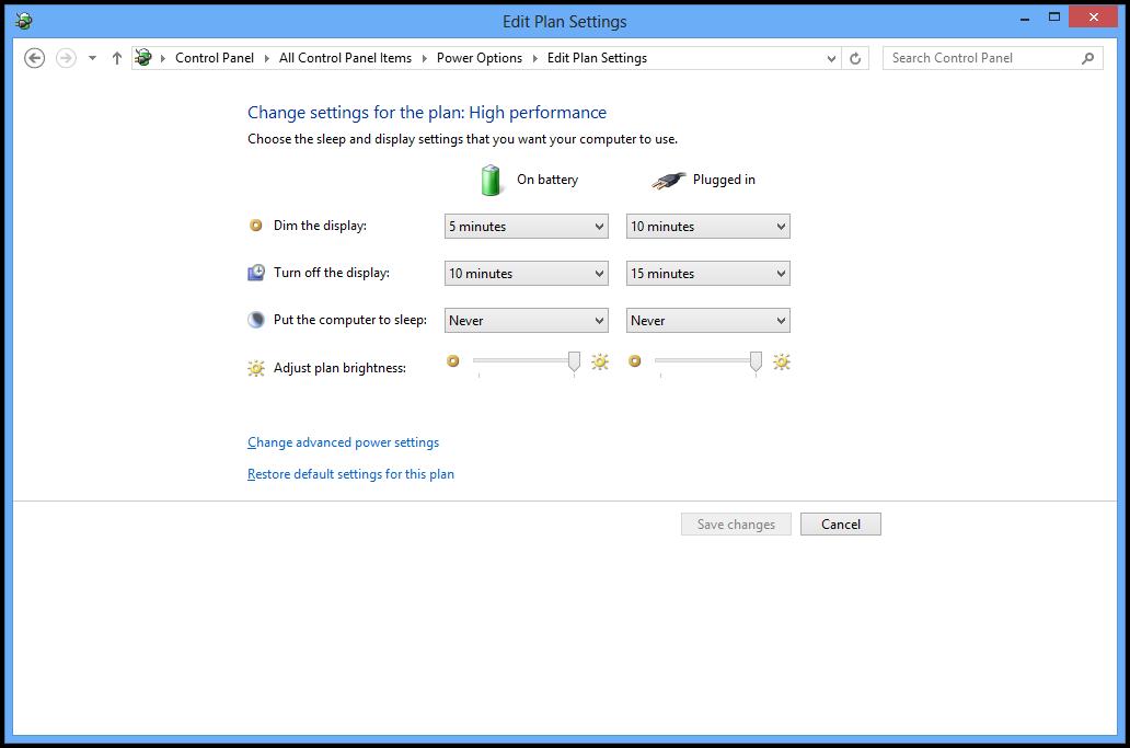 Power Plan in Windows 8