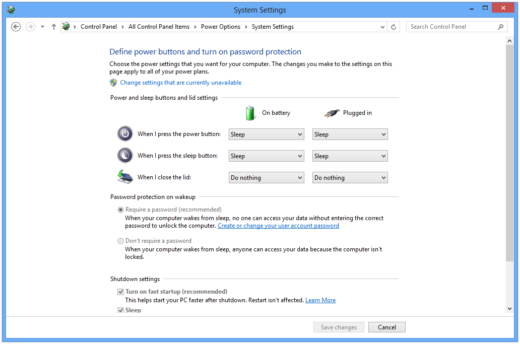 Change Power Options in Windows 8
