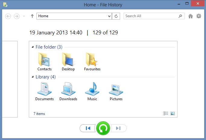 Using File History in Windows 8