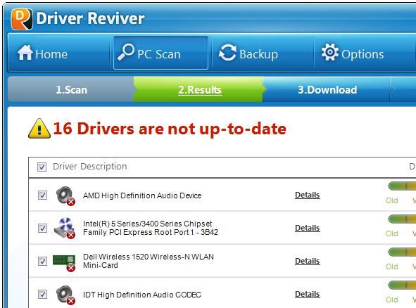 Scan-Ergebnisse von Driver Reviver