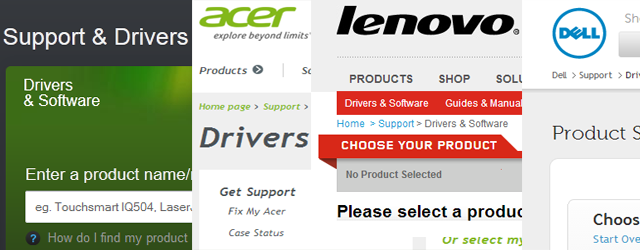 Herstellerunterstützung für Treiber Downloads