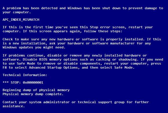 What does the APC Index Mismatch Blue Screen mean in Windows?