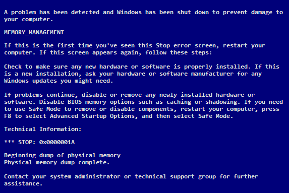 A Guide to the MEMORY_MANAGEMENT Blue Screen of Death Error