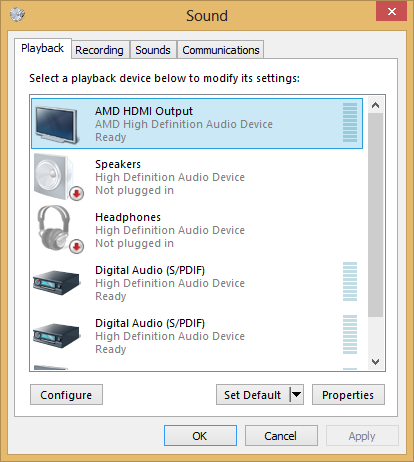 hdmi audio not recognized windows 10
