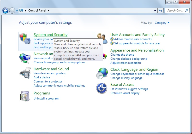 Device Manager - System and Security