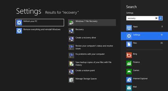Windows 7 Recovery in Windows 8