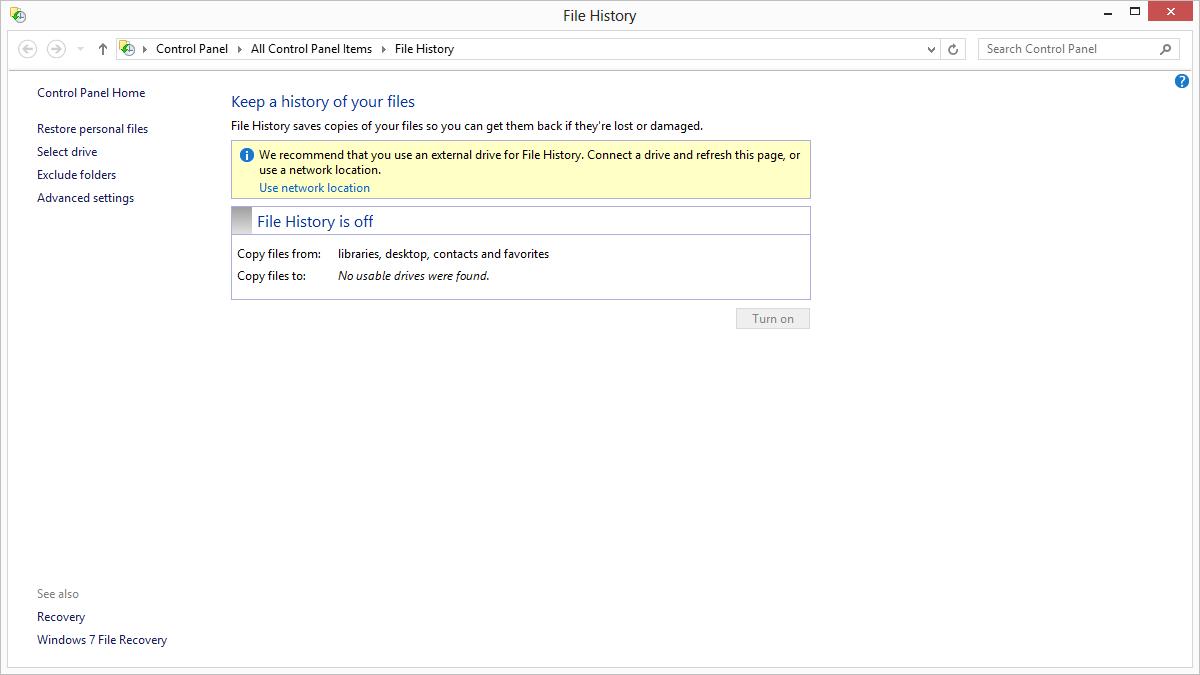 File History in Windows 8