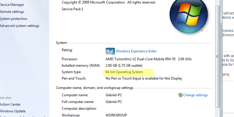 32 or 64 bit Operating System