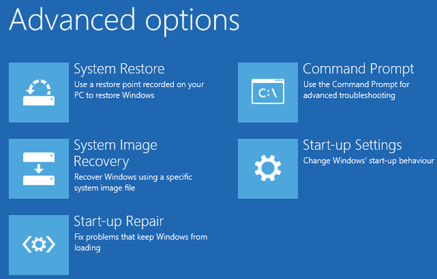 Windows 8 StartUp Options