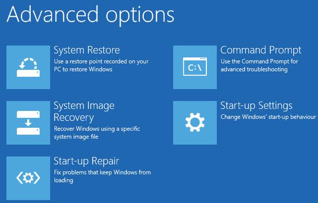 Windows 8 StartUp Options