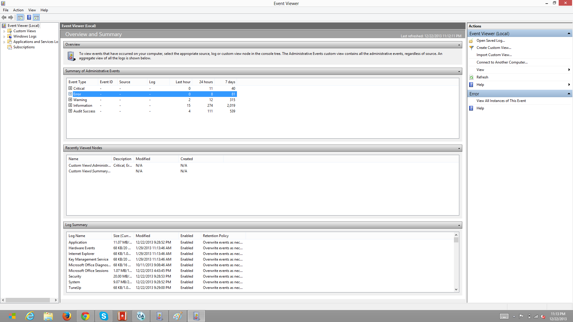 Event Viewer in Windows 8