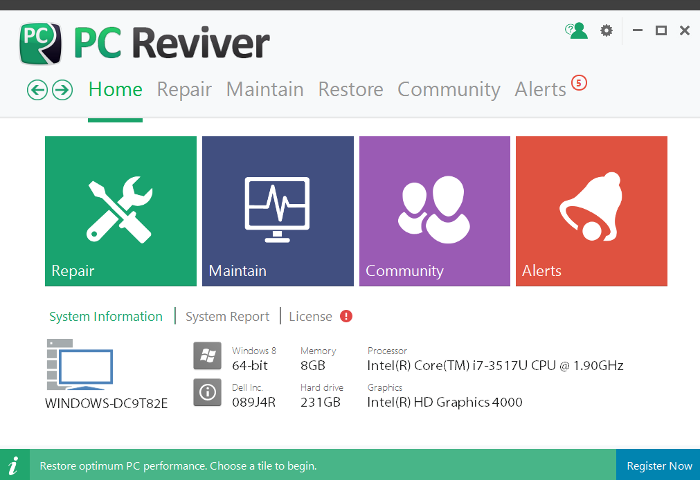 PC Reviver Home Screen