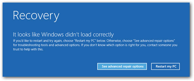 Windows 8 Recovery Screen