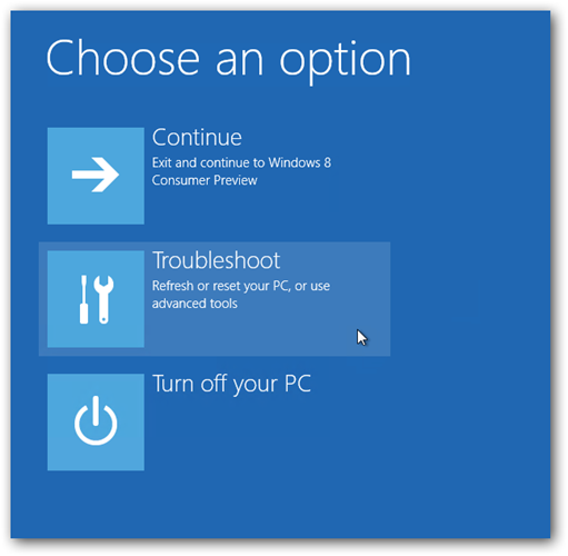 Windows 8 Trobleshoot Option
