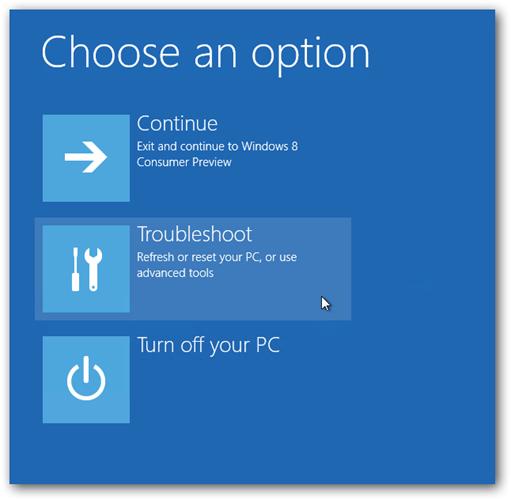 Windows 8 Trobleshoot Option