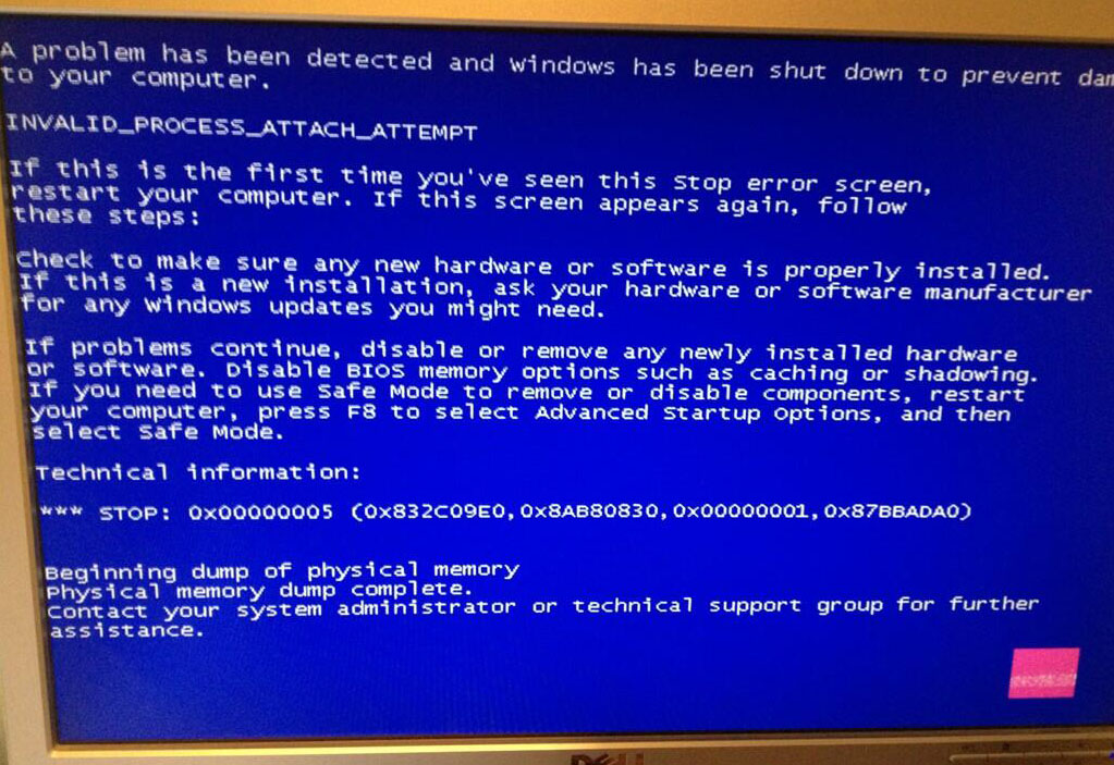 What does the INVALID_PROCESS_ATTACH_ATTEMPT Blue Screen of Death error mean?