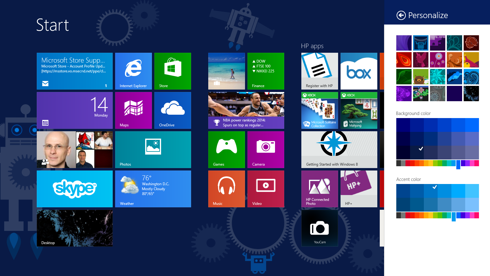 How to change the desktop and Start Screen background in Windows 8.1