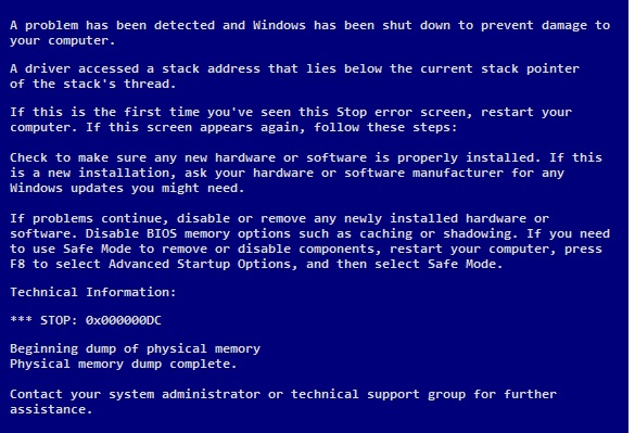 DRIVER_INVALID_STACK_ACCESS