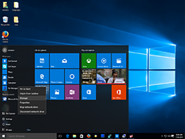 Start systému Windows 10 desktop