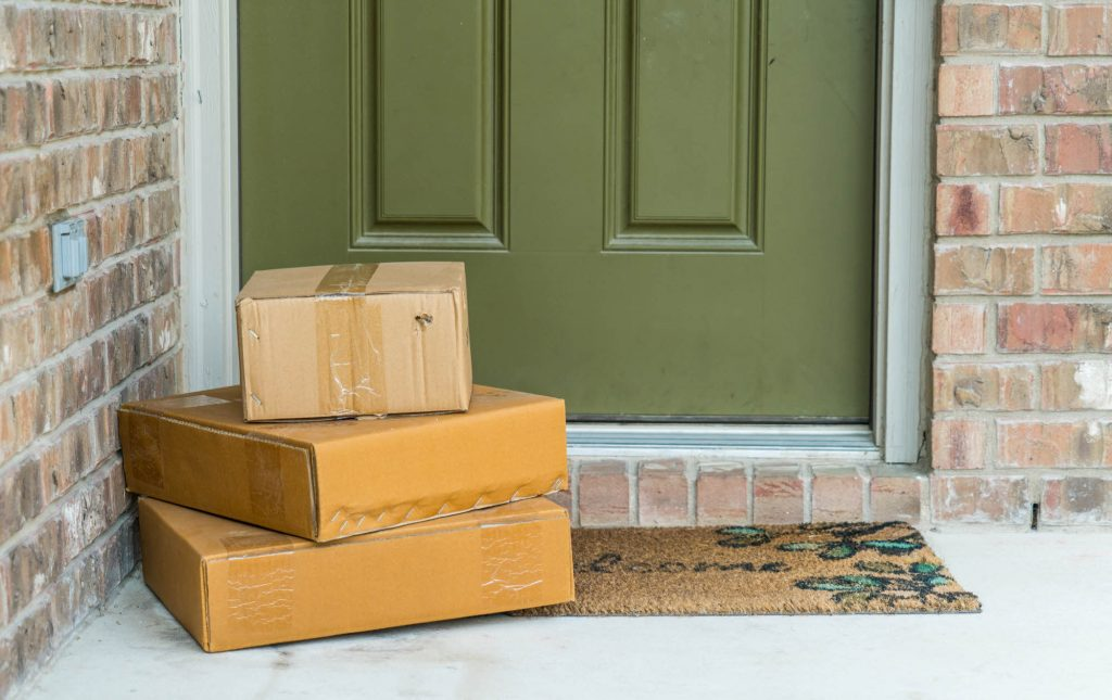 Delivery boxes at a doorstep