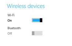 How to turn on or off bluetooth in Windows 8