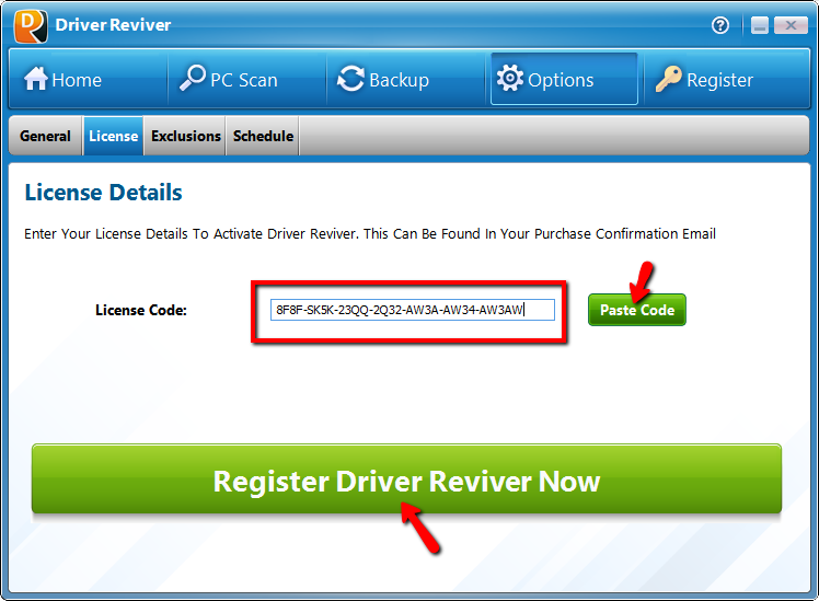How do I register Driver Reviver, to download and install the driver updates?