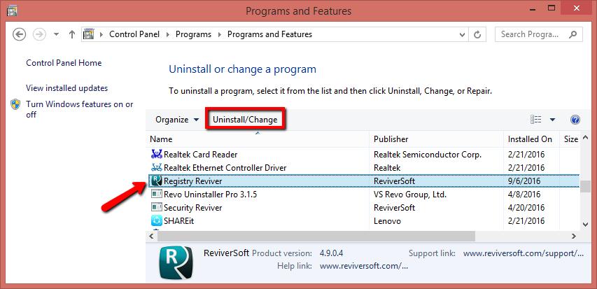 How Do I Uninstall Or Remove Registry Reviver
