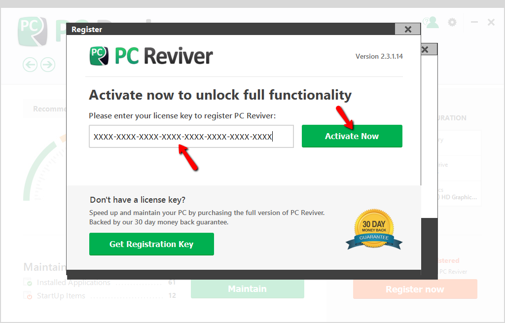 pc reviver license code list