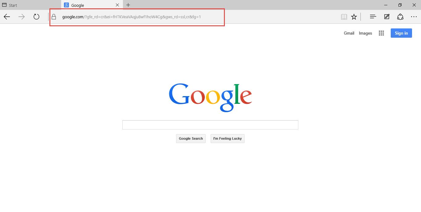 Edge - Navigeer naar uw favoriete zoekmachine.