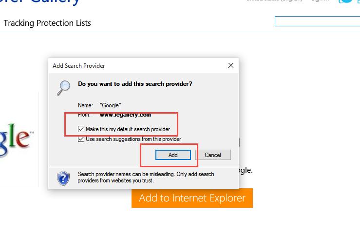 Internet Explorer - Přidat nový vyhledávač (krok 2)
