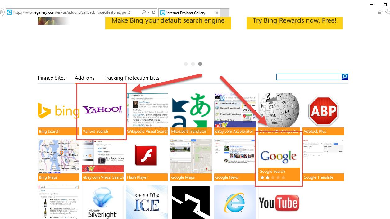 Internet Explorer - Přidat nový vyhledávač