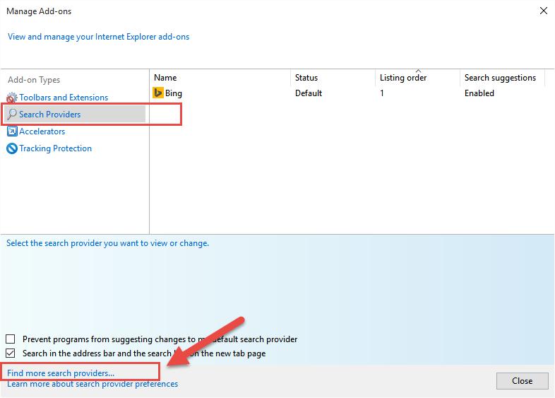 Internet Explorer - Najděte svého preferovaného poskytovatele vyhledávání