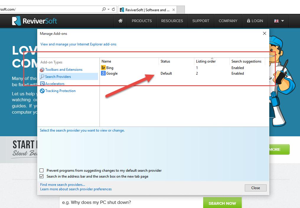 Internet Explorer - Zkontrolujte preferovaný vyhledávač