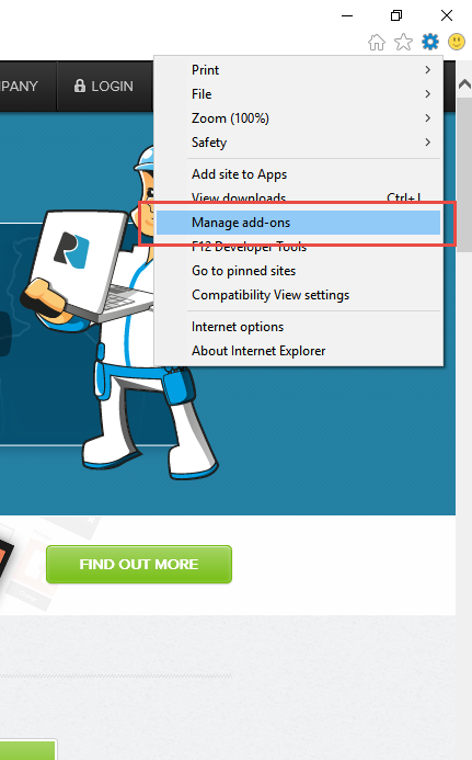 Internet Explorer - Správa doplňků