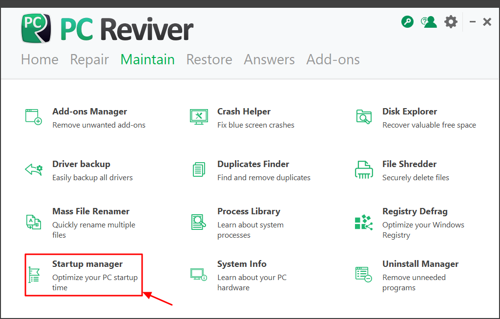Use PC Reviver Startup manager feature